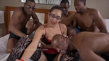 Bound Hardcore Interracial Blowjob