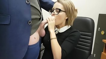 Secretary Sperm MILF Blowjob